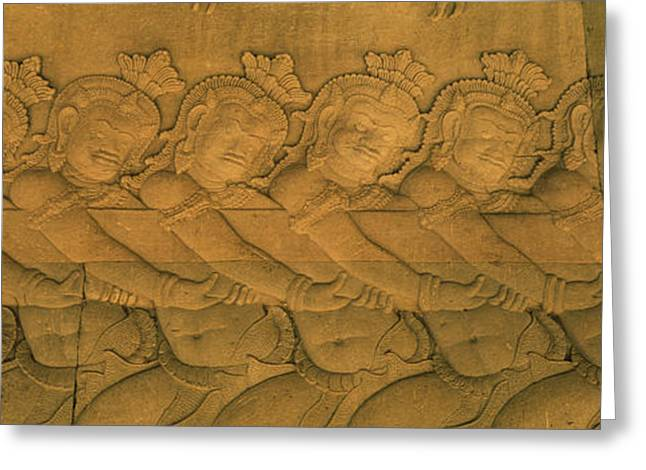 Bas Relief In A Temple, Angkor Wat Greeting Card by Panoramic Images