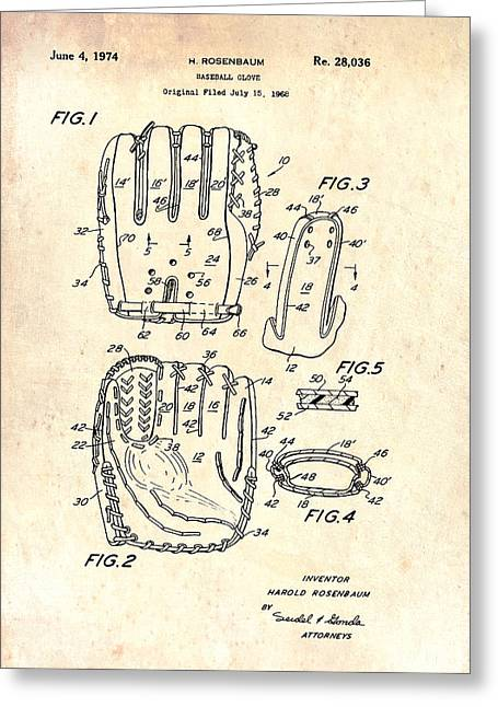 Baseball Glove Patent 1974 Greeting Card by Mountain Dreams