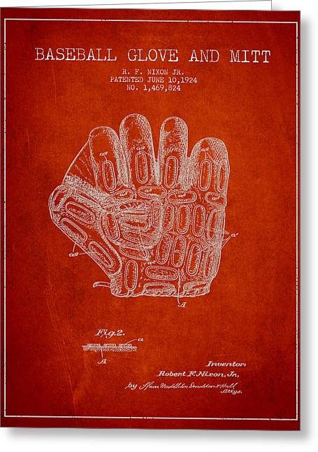 Baseball Glove Patent Drawing From 1924 Greeting Card