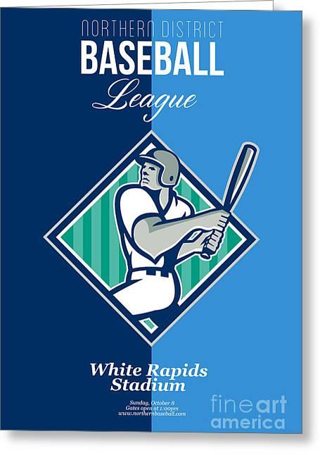 Baseball Hitter Batting Diamond Retro Greeting Card by Aloysius Patrimonio