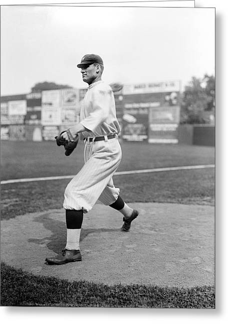 Baseball Star Walter Johnson Greeting Card by Underwood Archives