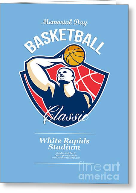 Basketball Player Rebounding Ball Retro Greeting Card by Aloysius Patrimonio