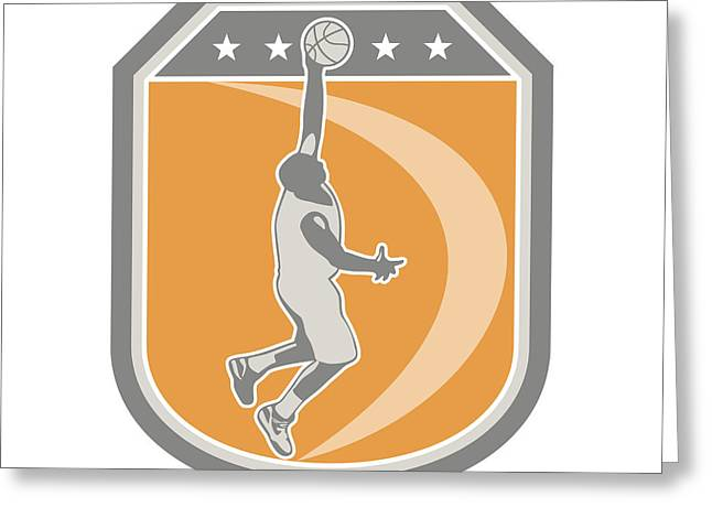 Basketball Player Rebounding Ball Shield Retro Greeting Card by Aloysius Patrimonio