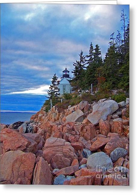 Bass Harbor Lighthouse Greeting Card by Helene Guertin