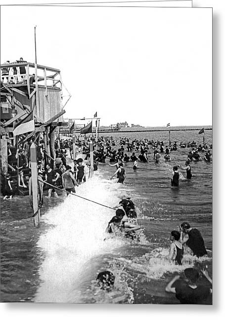 Bathers At Coney Island Greeting Card by Underwood Archives