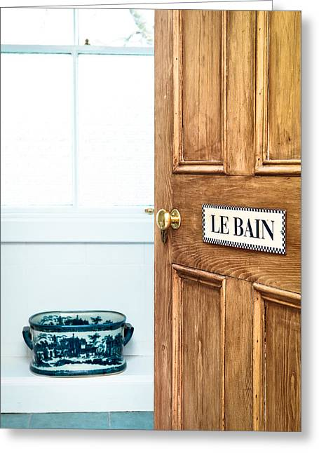 Bathroom Door Greeting Card by Tom Gowanlock