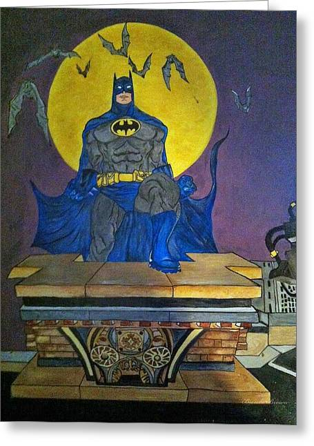 Batman On The Roof Top Greeting Card by Brenda Brown