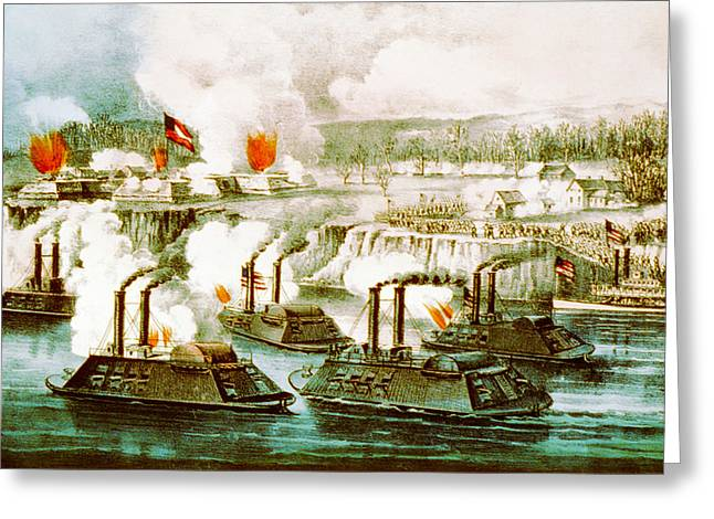 Battle Of Fort Hindman Greeting Card by Currier and Ives