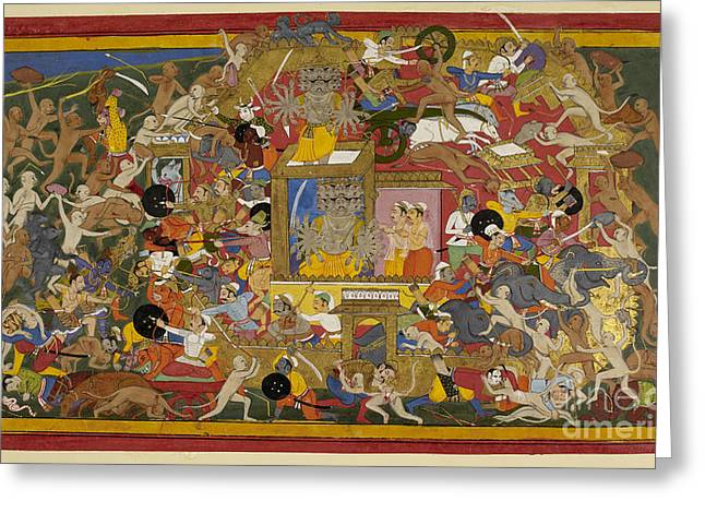 Battle Scene At Lanka Greeting Card by British Library