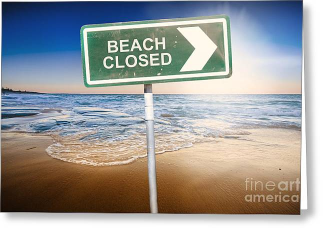 Beach Closed Sign On Australian Landscape Greeting Card by Jorgo Photography - Wall Art Gallery