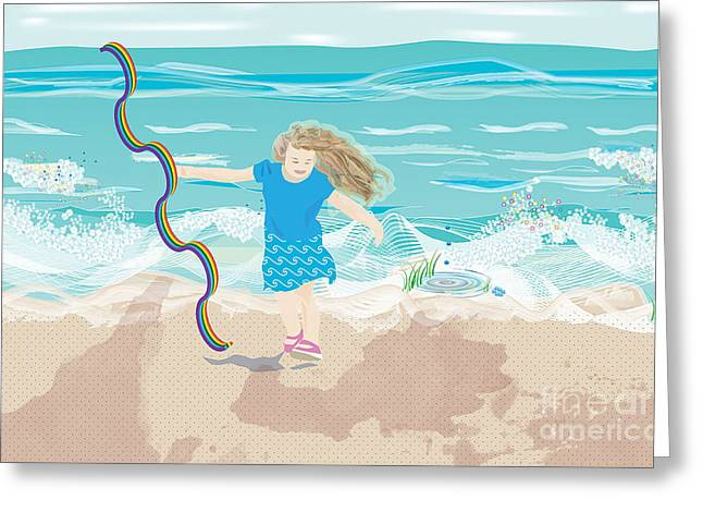 Greeting Card featuring the digital art Beach Rainbow Girl by Kim Prowse