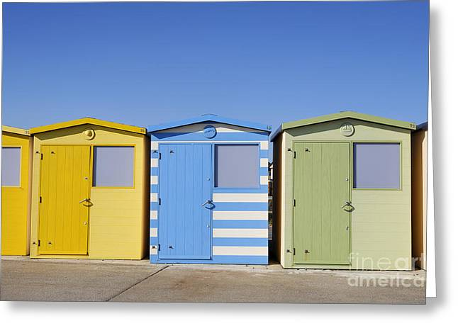 Beach Huts At Seaford In East Sussex In England Greeting Card by Robert Preston