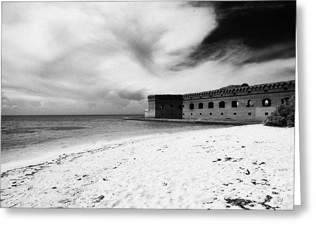Beach In Front Of Fort Jefferson Brick Walls With Moat Dry Tortugas National Park Florida Keys Usa Greeting Card