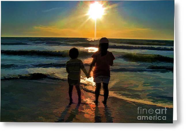 Beach Kids Greeting Card by Margie Chapman