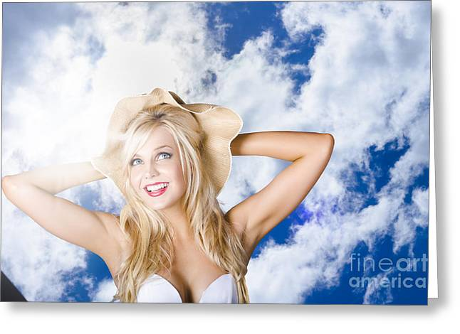 Beach Portrait Of A Happy Young Blond Woman Greeting Card
