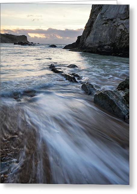Beach Sunrise Landscape With Long Exposure Waves Movement Greeting Card by Matthew Gibson