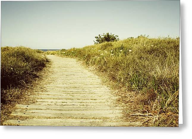 Beach Trail Greeting Card by Les Cunliffe