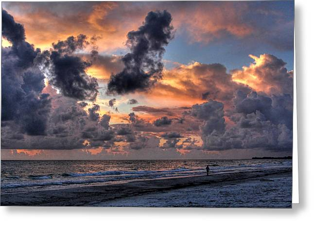 Beach Walk - Florida Seascape Greeting Card by HH Photography of Florida