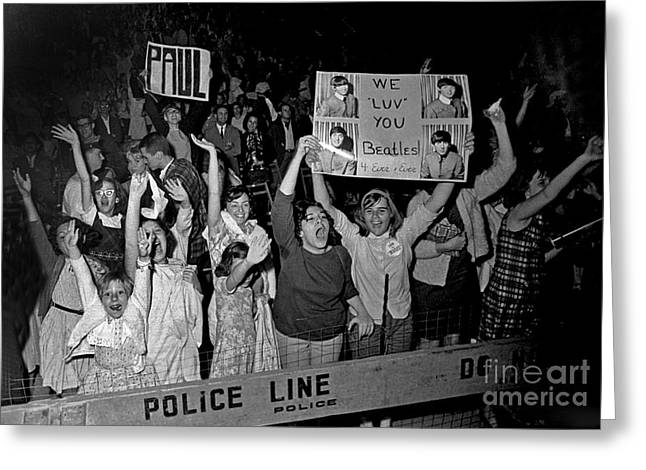 Beatles Fans At Concert, 1964 Greeting Card by Larry Mulvehill
