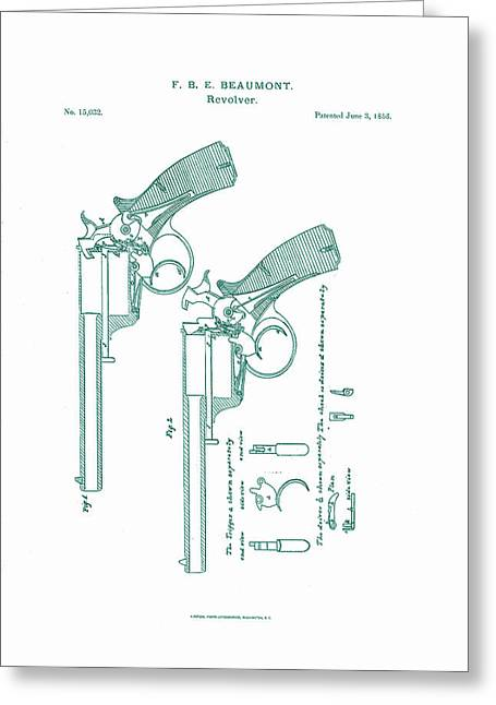 Beaumont Revolver Patent Greeting Card by Georgia Fowler