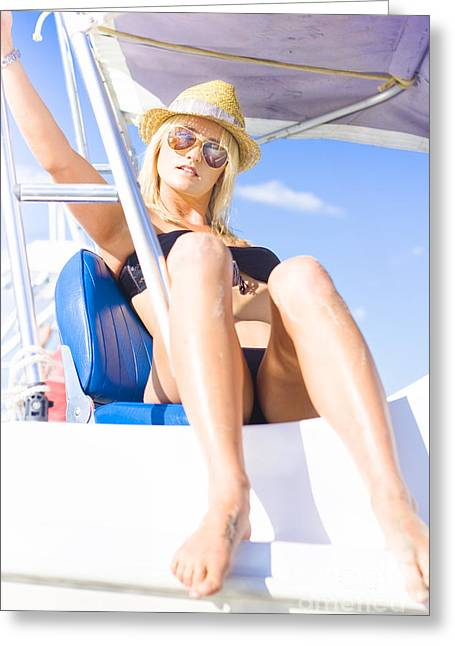 Beautiful Blond Female Tourist On Sightseeing Tour Greeting Card by Jorgo Photography - Wall Art Gallery