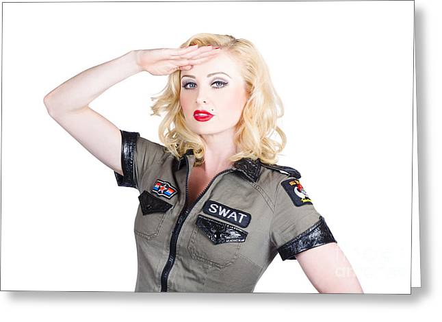 Beautiful Blond Woman In Military Outfit Greeting Card by Jorgo Photography - Wall Art Gallery