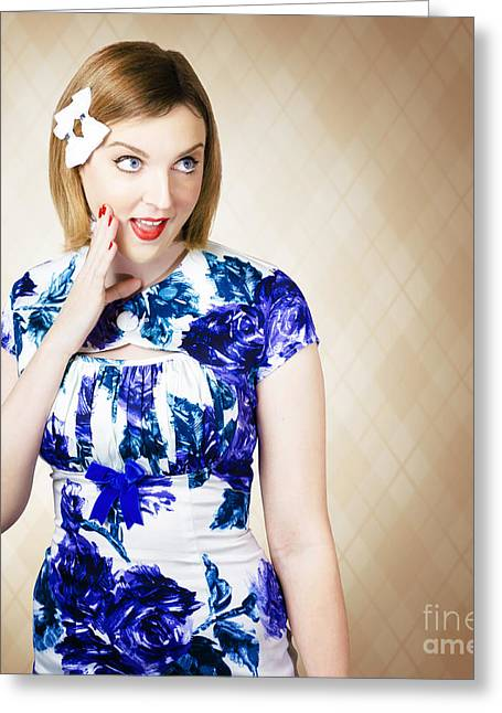 Beautiful Blonde 50s Pinup Woman Expressing Shock Greeting Card by Jorgo Photography - Wall Art Gallery
