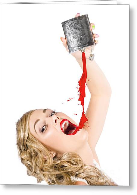 Beautiful Blonde Make-up Artist Woman Pouring Liquid Lipstick Greeting Card by Jorgo Photography - Wall Art Gallery