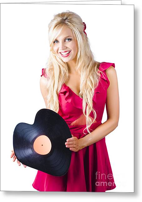 Beautiful Blonde With Heart-shaped Record Greeting Card by Jorgo Photography - Wall Art Gallery