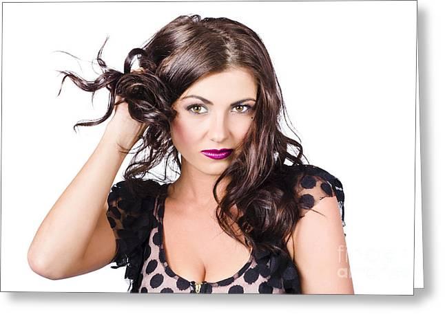 Beautiful Brunette Woman. Model Hair Style Greeting Card