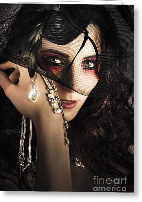 Beautiful Female Fashion Model In Luxury Jewellery Greeting Card by Jorgo Photography - Wall Art Gallery