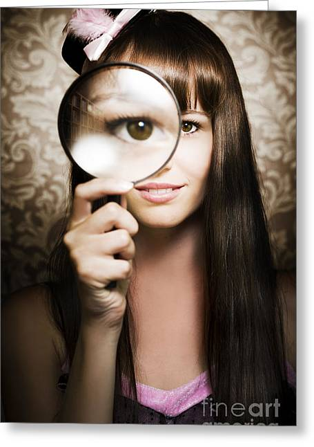 Beautiful Female Watching Through Magnifying Glass Greeting Card by Jorgo Photography - Wall Art Gallery