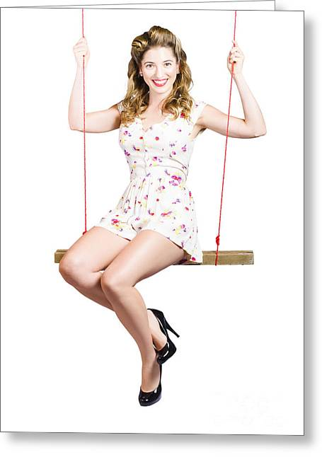 Beautiful Fifties Pin Up Girl Smiling On Swing Greeting Card by Jorgo Photography - Wall Art Gallery