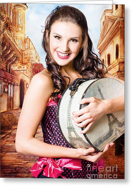 Beautiful Fine Art Girl On Europe Travel Tour Greeting Card by Jorgo Photography - Wall Art Gallery