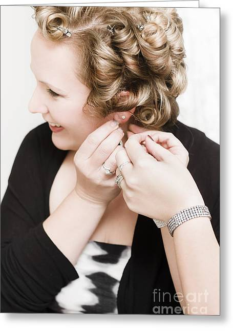 Beautiful Happy Bride Putting On Earrings Greeting Card by Jorgo Photography - Wall Art Gallery