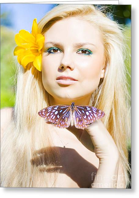 Beautiful Natural Blonde With Butterfly Greeting Card by Jorgo Photography - Wall Art Gallery