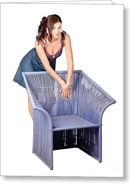 Beautiful Pin Up Woman Posing On Old Cane Chair Greeting Card