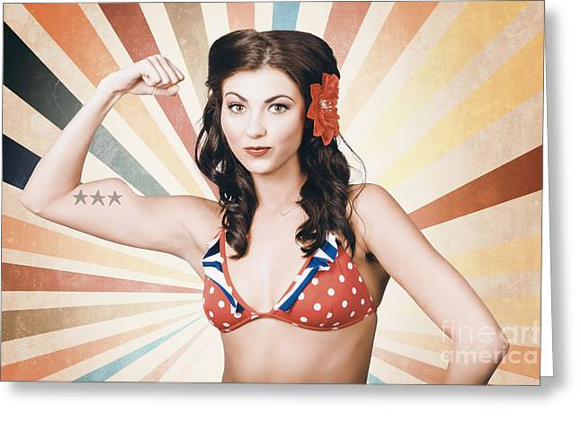 Beautiful Pinup Girl Flexing Muscle. Womens Rights Greeting Card by Jorgo Photography - Wall Art Gallery