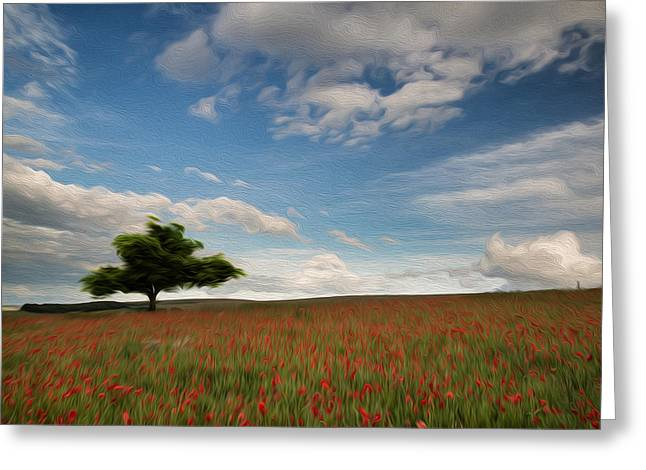 Beautiful Poppy Field Landscape Digital Painting Greeting Card by Matthew Gibson