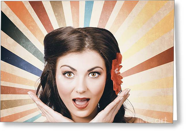 Beautiful Retro Brunette Girl With Surprised Look Greeting Card