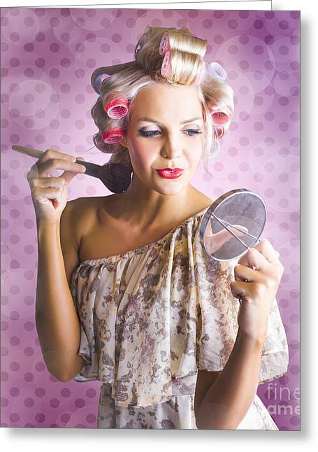 Beautiful Retro Woman Applying Makeup Cosmetics Greeting Card by Jorgo Photography - Wall Art Gallery
