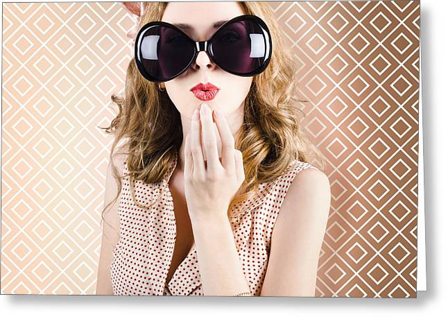 Beautiful Surprised Girl Wearing Big Sunglasses Greeting Card