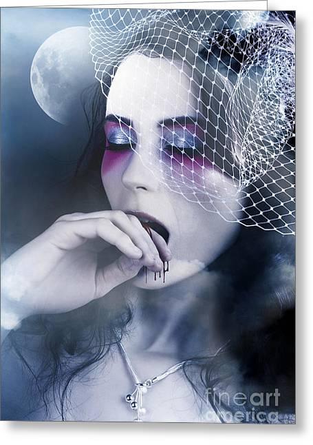 Beautiful Vampire Woman At Full Moon Greeting Card
