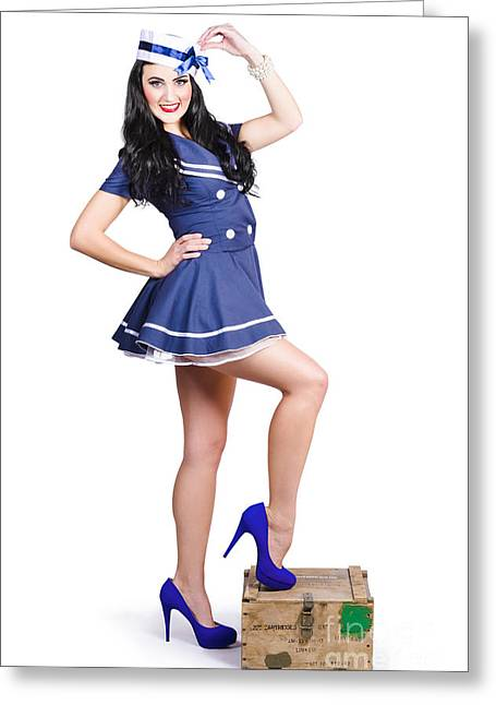 Beautiful Vintage Navy Woman. Retro Pinups Greeting Card by Jorgo Photography - Wall Art Gallery