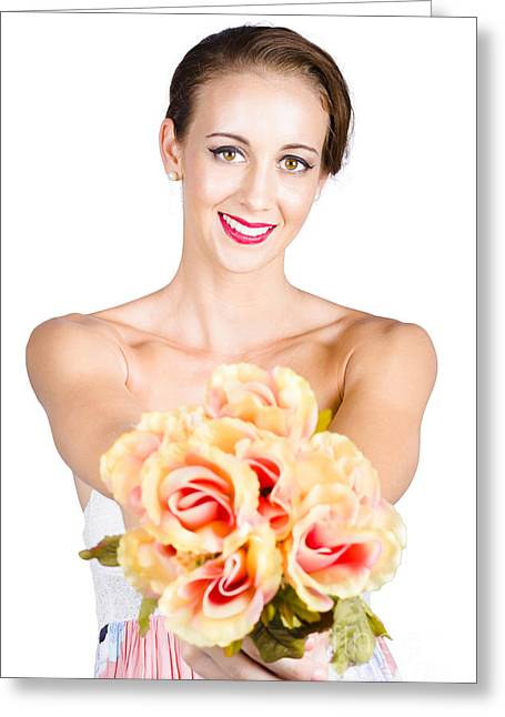 Beautiful Woman Holding Florist Flowers Greeting Card by Jorgo Photography - Wall Art Gallery