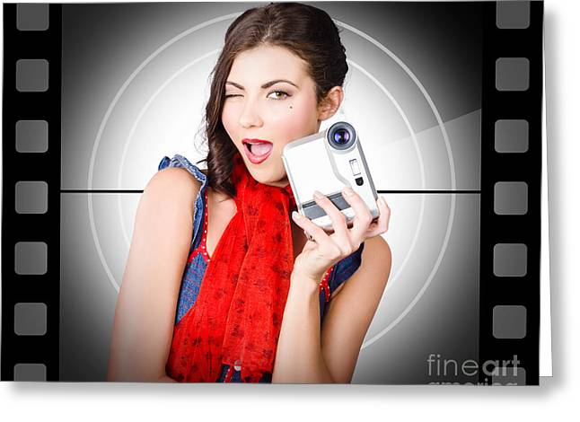 Beautiful Woman Holding Home Video Camera Greeting Card