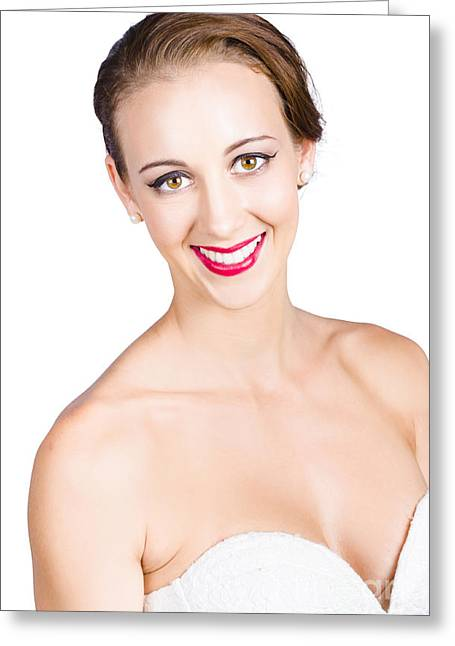 Beautiful Woman Smiling Greeting Card by Jorgo Photography - Wall Art Gallery