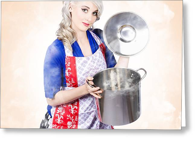 Beautiful Young Vintage Housewife Cooking Up Meal Greeting Card
