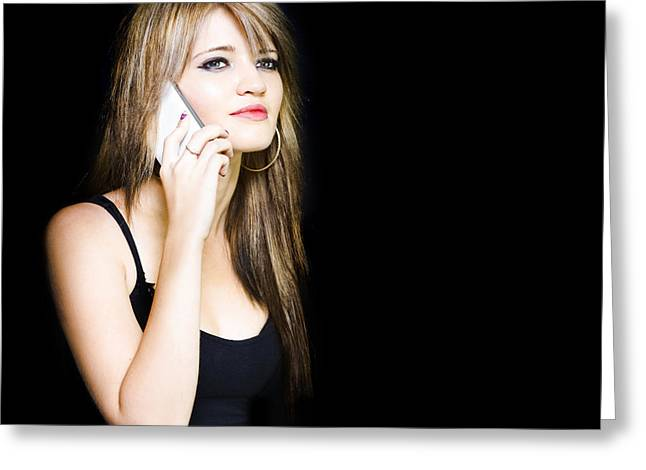 Beautiful Young Woman Communicating On Cell Phone Greeting Card