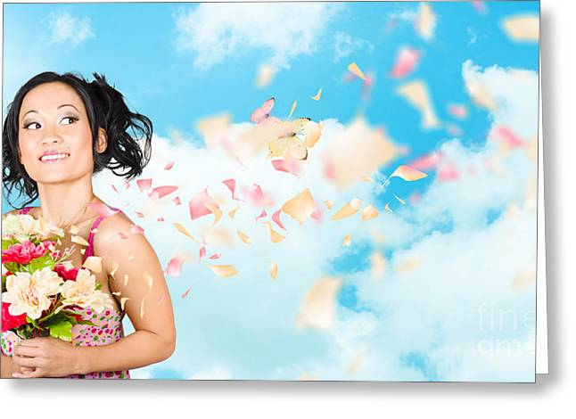 Beautiful Young Woman Holding Spring Flower Bunch  Greeting Card by Jorgo Photography - Wall Art Gallery